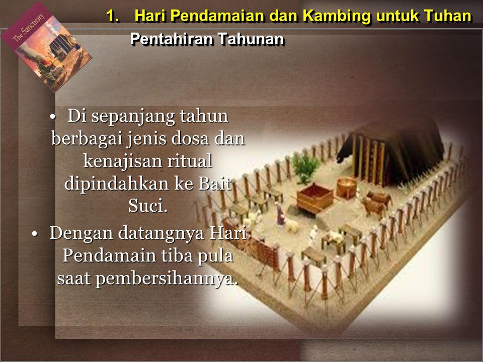 Di sepanjang tahun berbagai jenis dosa dan kenajisan ritual dipindahkan ke Bait Suci.Di sepanjang tahun berbagai jenis dosa dan kenajisan ritual dipin