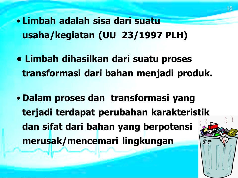 Limbah adalah sisa dari suatu usaha/kegiatan (UU 23/1997 PLH) Limbah dihasilkan dari suatu proses transformasi dari bahan menjadi produk. Dalam proses