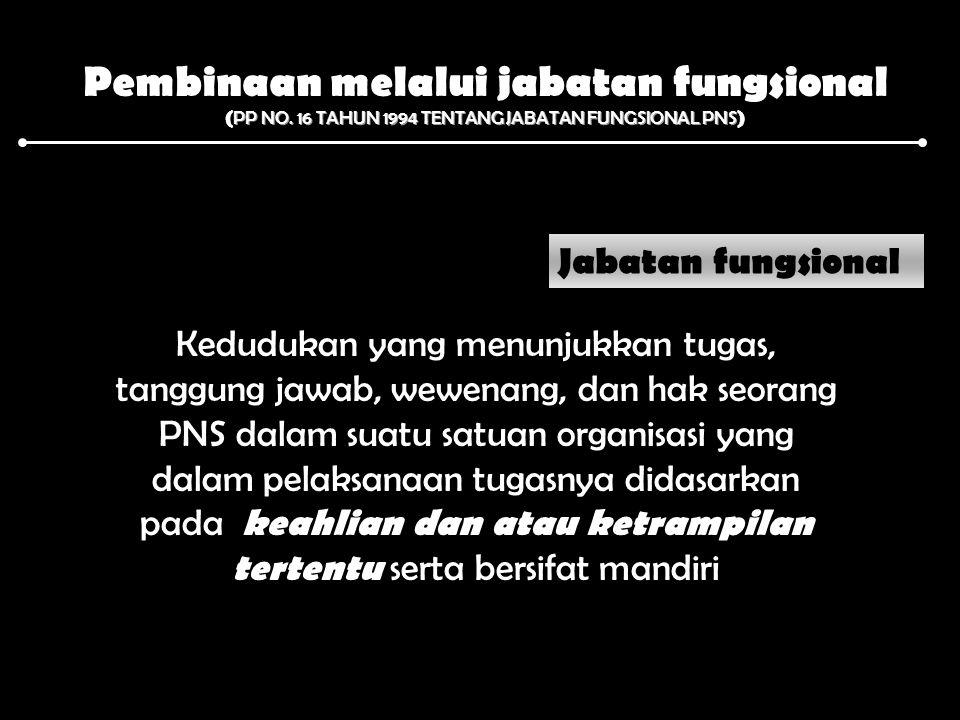 Pembinaan melalui jabatan fungsional PP NO. 16 TAHUN 1994 TENTANG JABATAN FUNGSIONAL PNS ( PP NO. 16 TAHUN 1994 TENTANG JABATAN FUNGSIONAL PNS ) Jabat