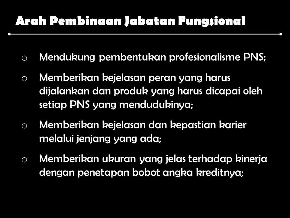 Arah Pembinaan Jabatan Fungsional o Mendukung pembentukan profesionalisme PNS; o Memberikan kejelasan peran yang harus dijalankan dan produk yang haru