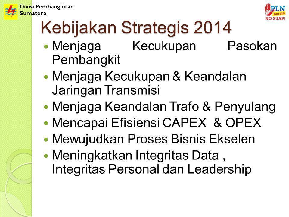 Divisi Pembangkitan Sumatera Kebijakan Strategis 2014 Menjaga Kecukupan Pasokan Pembangkit Menjaga Kecukupan & Keandalan Jaringan Transmisi Menjaga Keandalan Trafo & Penyulang Mencapai Efisiensi CAPEX & OPEX Mewujudkan Proses Bisnis Ekselen Meningkatkan Integritas Data, Integritas Personal dan Leadership