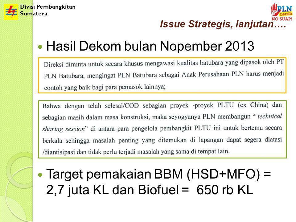 Divisi Pembangkitan Sumatera Issue Strategis, lanjutan…. Hasil Dekom bulan Nopember 2013 Target pemakaian BBM (HSD+MFO) = 2,7 juta KL dan Biofuel = 65