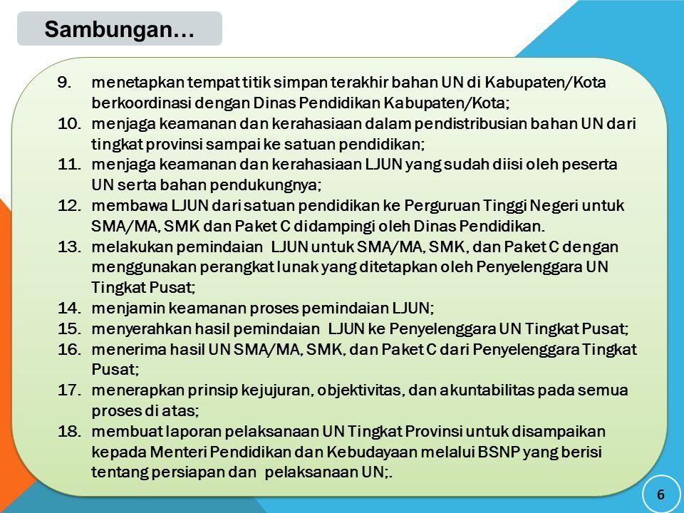 17 Prosedur Tindak Lanjut Langkah-langkah dan prosedur tindak lanjut pengaduan dugaan pelanggaran dalam pelaksanaan Ujian Nasional sebagai berikut.