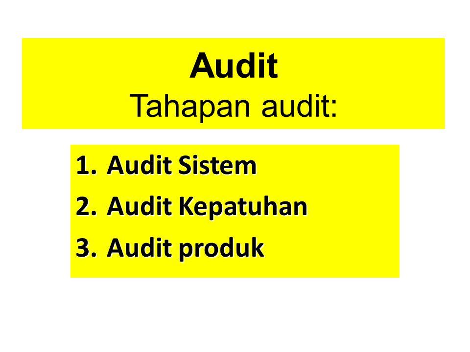 Audit Tahapan audit: 1.Audit Sistem 2.Audit Kepatuhan 3.Audit produk