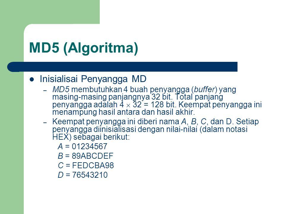 MD5 (Algoritma) Inisialisai Penyangga MD – MD5 membutuhkan 4 buah penyangga (buffer) yang masing-masing panjangnya 32 bit. Total panjang penyangga ada