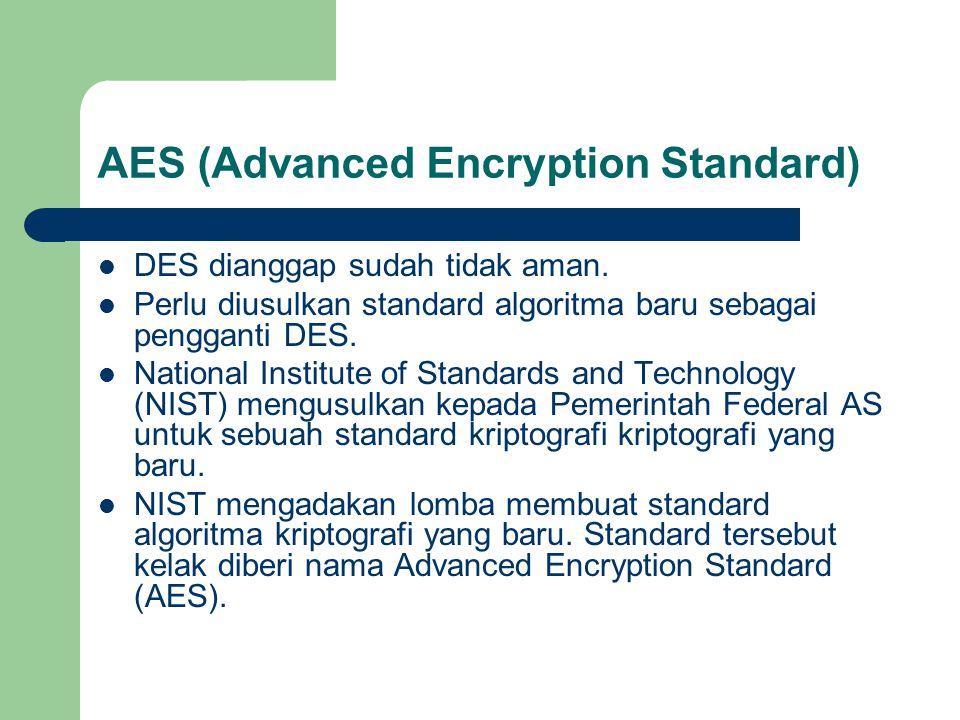 AES (Advanced Encryption Standard) DES dianggap sudah tidak aman. Perlu diusulkan standard algoritma baru sebagai pengganti DES. National Institute of