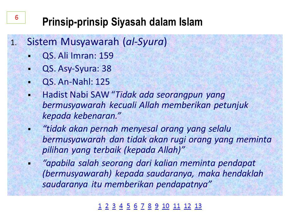1.Sistem Musyawarah (al-Syura)  QS. Ali Imran: 159  QS.