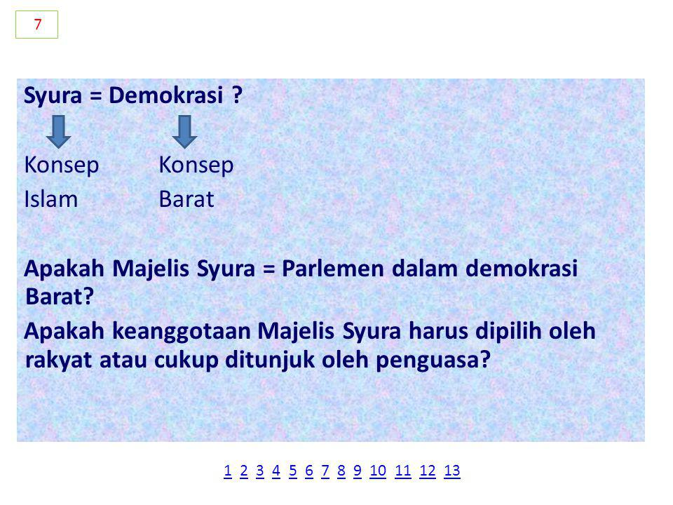 Syura = Demokrasi ?Konsep IslamBarat Apakah Majelis Syura = Parlemen dalam demokrasi Barat.