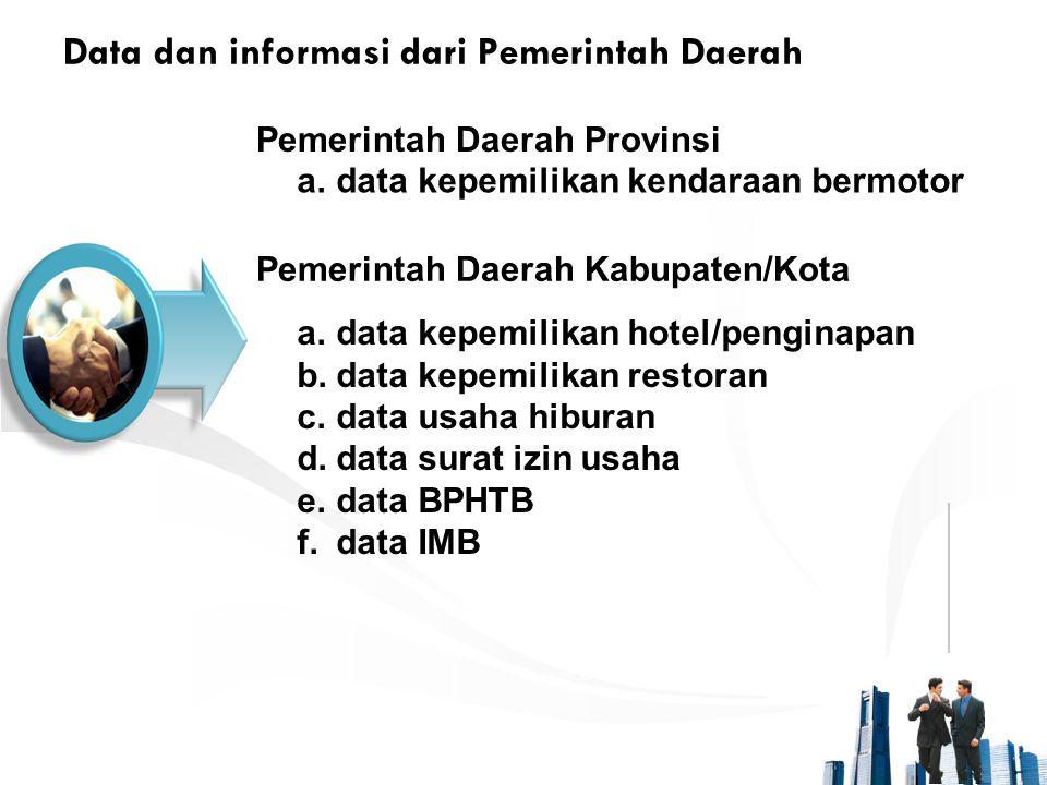 Data dan informasi dari Pemerintah Daerah Pemerintah Daerah Provinsi a.data kepemilikan kendaraan bermotor Pemerintah Daerah Kabupaten/Kota a.data kep