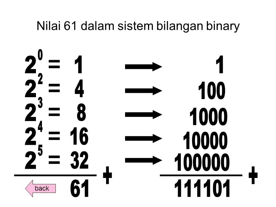 Nilai 61 dalam sistem bilangan binary back