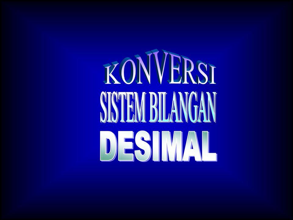 Konversi dari Sistem Bilangan Desimal  Konversi ke sistem bilangan binaryKonversi ke sistem bilangan binary  Konversi ke sistem bilangan oktalKonversi ke sistem bilangan oktal  Konversi ke sistem bilangan heksadesimalKonversi ke sistem bilangan heksadesimal