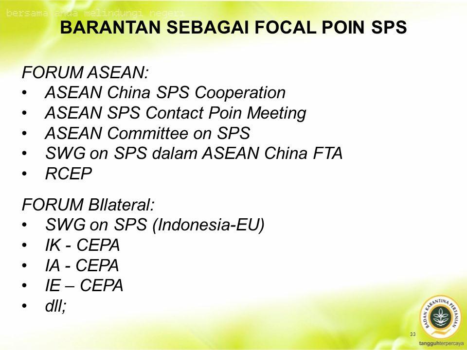 33 FORUM ASEAN: ASEAN China SPS Cooperation ASEAN SPS Contact Poin Meeting ASEAN Committee on SPS SWG on SPS dalam ASEAN China FTA RCEP BARANTAN SEBAGAI FOCAL POIN SPS FORUM BIlateral: SWG on SPS (Indonesia-EU) IK - CEPA IA - CEPA IE – CEPA dll;