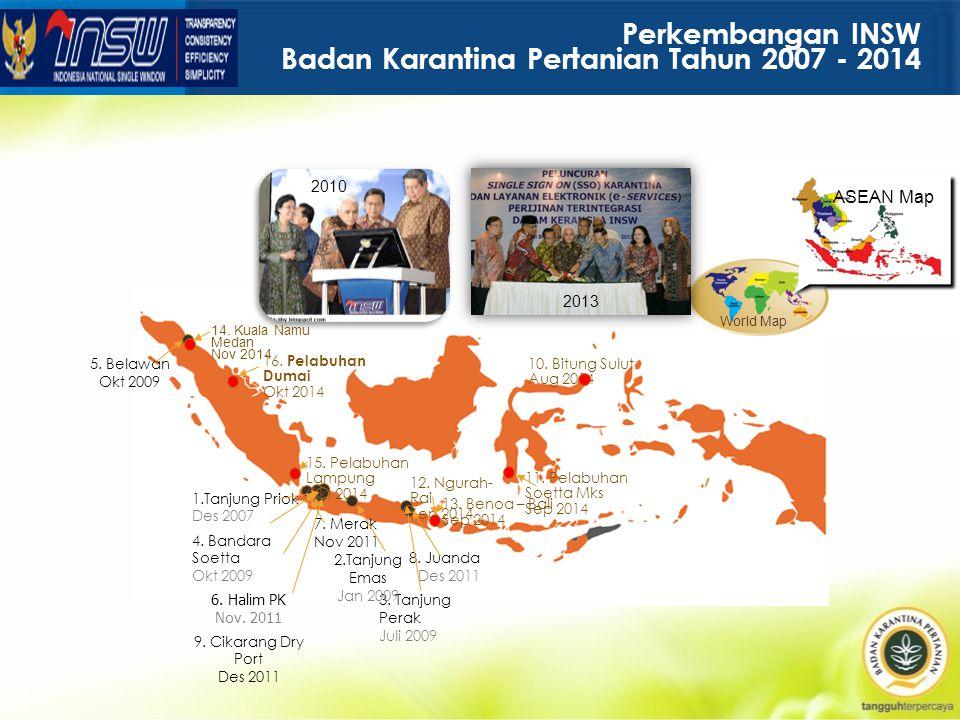 Perkembangan INSW Badan Karantina Pertanian Tahun 2007 - 2014 World Map ASEAN Map 8.