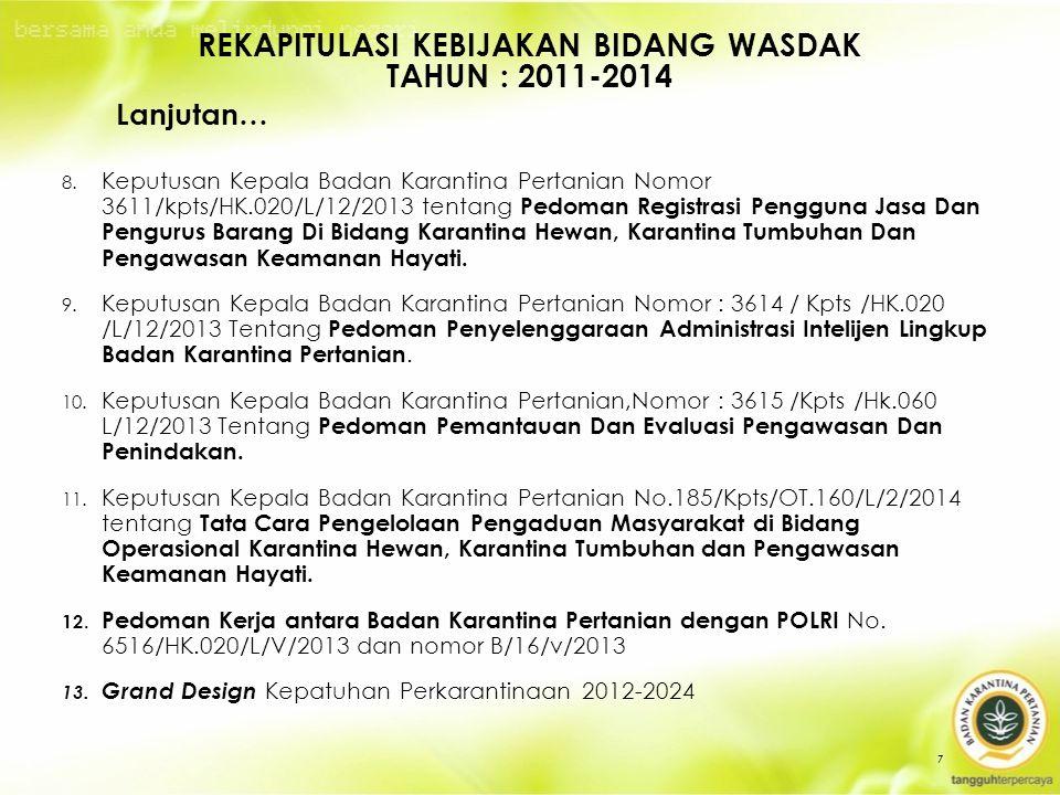 8. Keputusan Kepala Badan Karantina Pertanian Nomor 3611/kpts/HK.020/L/12/2013 tentang Pedoman Registrasi Pengguna Jasa Dan Pengurus Barang Di Bidang