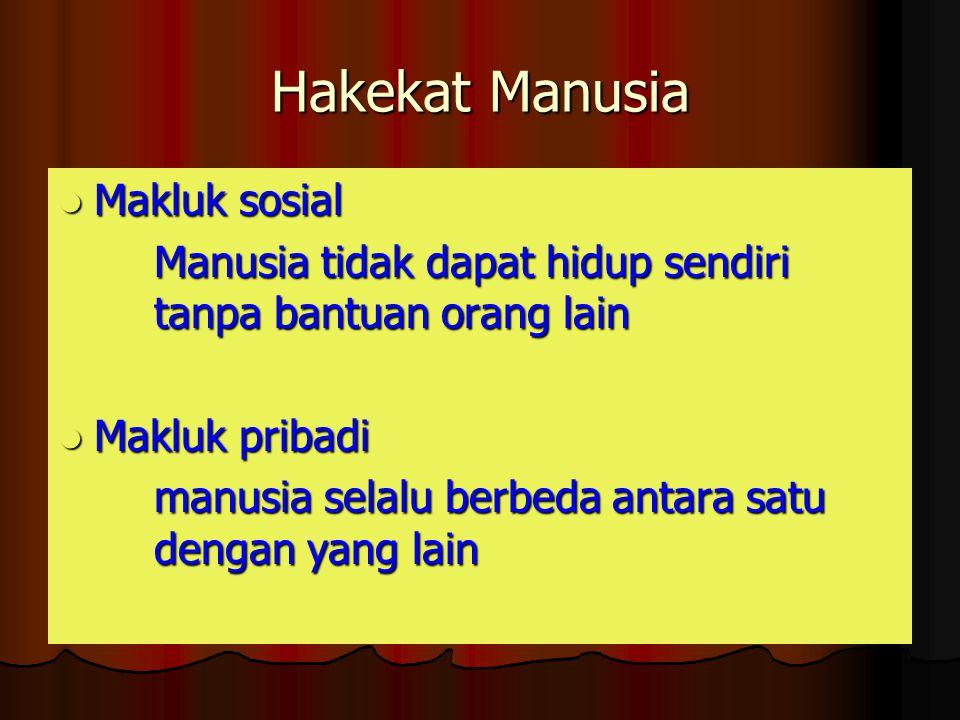 Hakekat Manusia Makluk sosial Makluk sosial Manusia tidak dapat hidup sendiri tanpa bantuan orang lain Makluk pribadi Makluk pribadi manusia selalu be