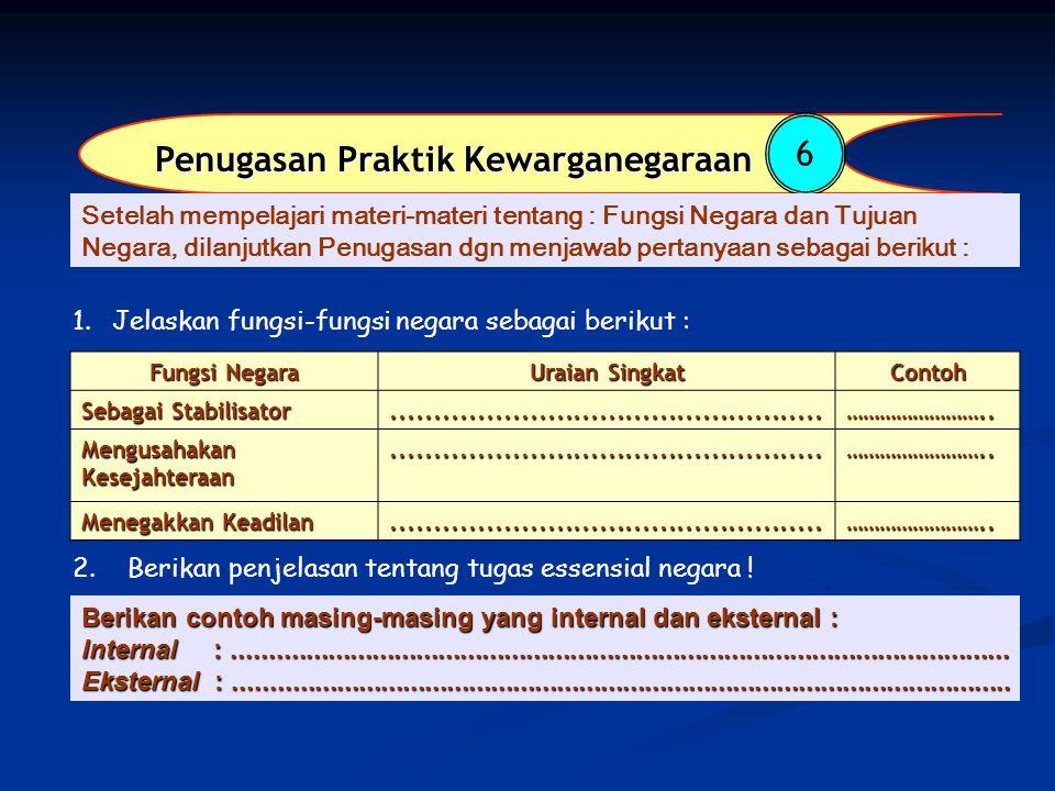 Penugasan Praktik Kewarganegaraan 6 Fungsi Negara Uraian Singkat Contoh Sebagai Stabilisator..................................................……………………