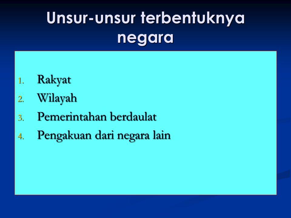 Unsur-unsur terbentuknya negara 1. Rakyat 2. Wilayah 3. Pemerintahan berdaulat 4. Pengakuan dari negara lain