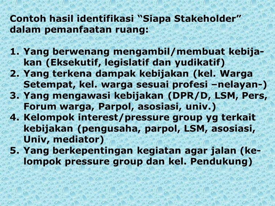 """Contoh hasil identifikasi """"Siapa Stakeholder"""" dalam pemanfaatan ruang: 1.Yang berwenang mengambil/membuat kebija- kan (Eksekutif, legislatif dan yudik"""