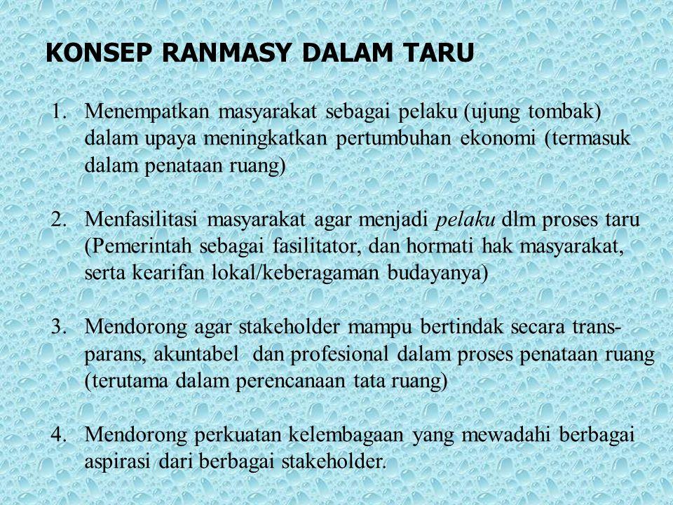 KONSEP RANMASY DALAM TARU 1.Menempatkan masyarakat sebagai pelaku (ujung tombak) dalam upaya meningkatkan pertumbuhan ekonomi (termasuk dalam penataan