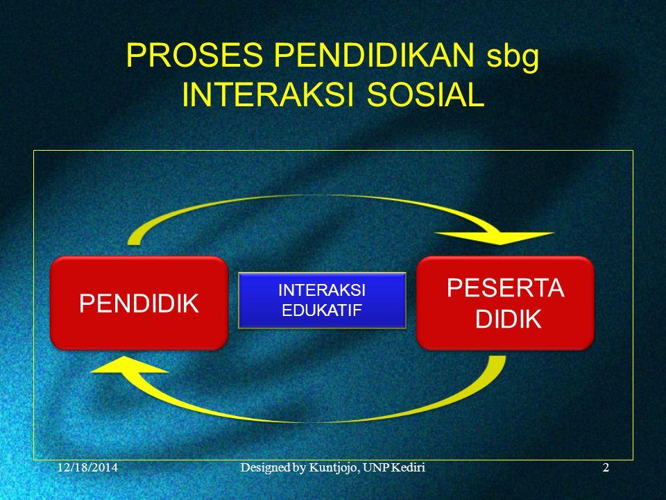 PROSES PENDIDIKAN sbg INTERAKSI SOSIAL 12/18/2014Designed by Kuntjojo, UNP Kediri2 PENDIDIK PESERTA DIDIK PESERTA DIDIK INTERAKSI EDUKATIF INTERAKSI EDUKATIF