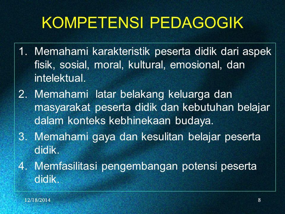 KOMPETENSI PEDAGOGIK 1.Memahami karakteristik peserta didik dari aspek fisik, sosial, moral, kultural, emosional, dan intelektual.