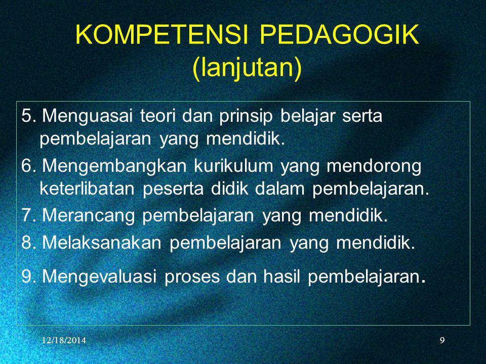 KOMPETENSI PEDAGOGIK (lanjutan) 5. Menguasai teori dan prinsip belajar serta pembelajaran yang mendidik. 6. Mengembangkan kurikulum yang mendorong ket