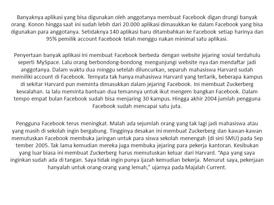 Banyaknya aplikasi yang bisa digunakan oleh anggotanya membuat Facebook digan drungi banyak orang. Konon hingga saat ini sudah lebih dari 20.000 aplik
