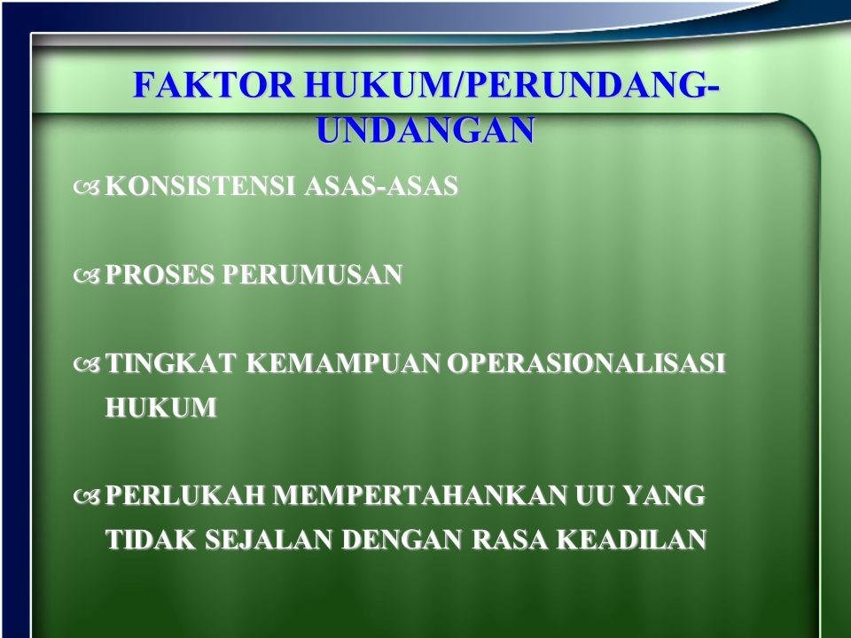 FAKTOR HUKUM/PERUNDANG- UNDANGAN KKKKONSISTENSI ASAS-ASAS PPPPROSES PERUMUSAN TTTTINGKAT KEMAMPUAN OPERASIONALISASI HUKUM PPPPERLUKAH