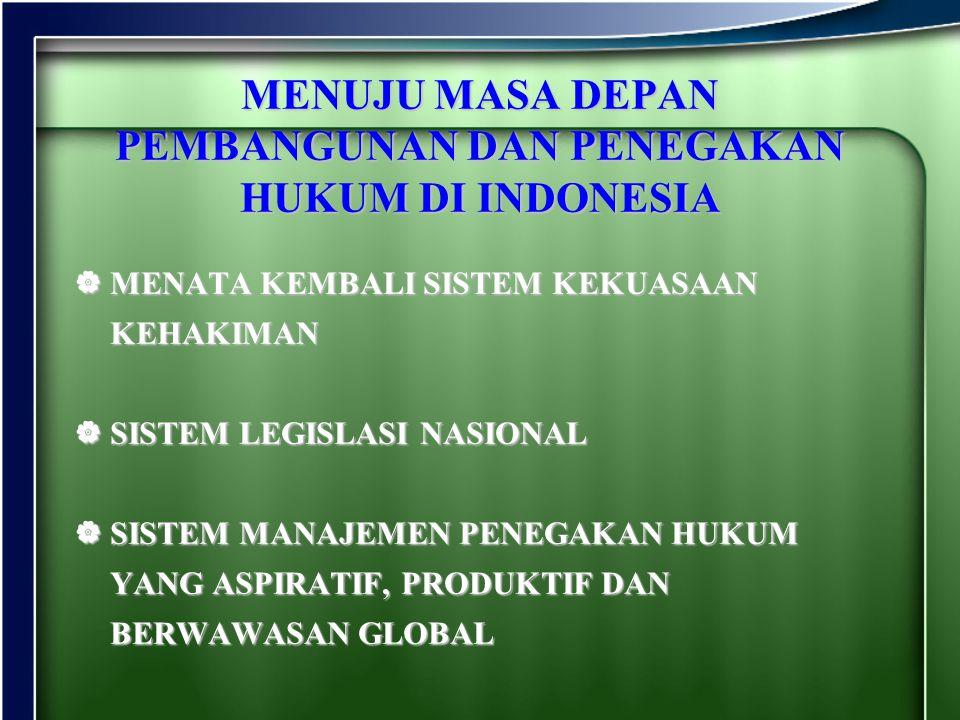 MENUJU MASA DEPAN PEMBANGUNAN DAN PENEGAKAN HUKUM DI INDONESIA MMMMENATA KEMBALI SISTEM KEKUASAAN KEHAKIMAN SSSSISTEM LEGISLASI NASIONAL SS