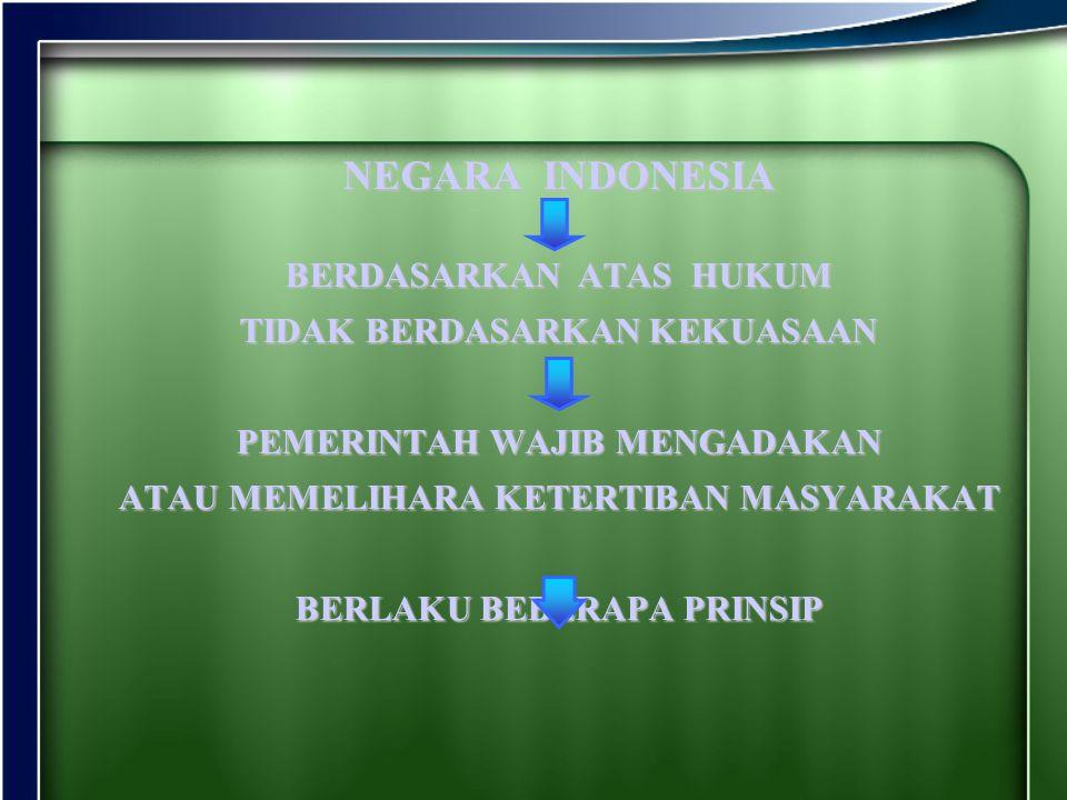 NEGARA INDONESIA BERDASARKAN ATAS HUKUM TIDAK BERDASARKAN KEKUASAAN PEMERINTAH WAJIB MENGADAKAN ATAU MEMELIHARA KETERTIBAN MASYARAKAT BERLAKU BEBERAPA