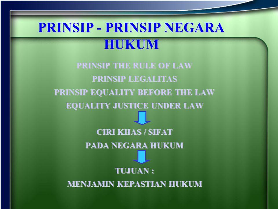 PRINSIP - PRINSIP NEGARA HUKUM PRINSIP THE RULE OF LAW PRINSIP LEGALITAS PRINSIP EQUALITY BEFORE THE LAW EQUALITY JUSTICE UNDER LAW CIRI KHAS / SIFAT
