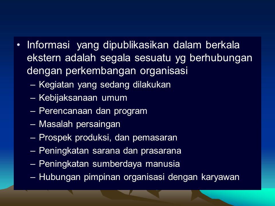 Informasi yang dipublikasikan dalam berkala ekstern adalah segala sesuatu yg berhubungan dengan perkembangan organisasi –Kegiatan yang sedang dilakukan –Kebijaksanaan umum –Perencanaan dan program –Masalah persaingan –Prospek produksi, dan pemasaran –Peningkatan sarana dan prasarana –Peningkatan sumberdaya manusia –Hubungan pimpinan organisasi dengan karyawan