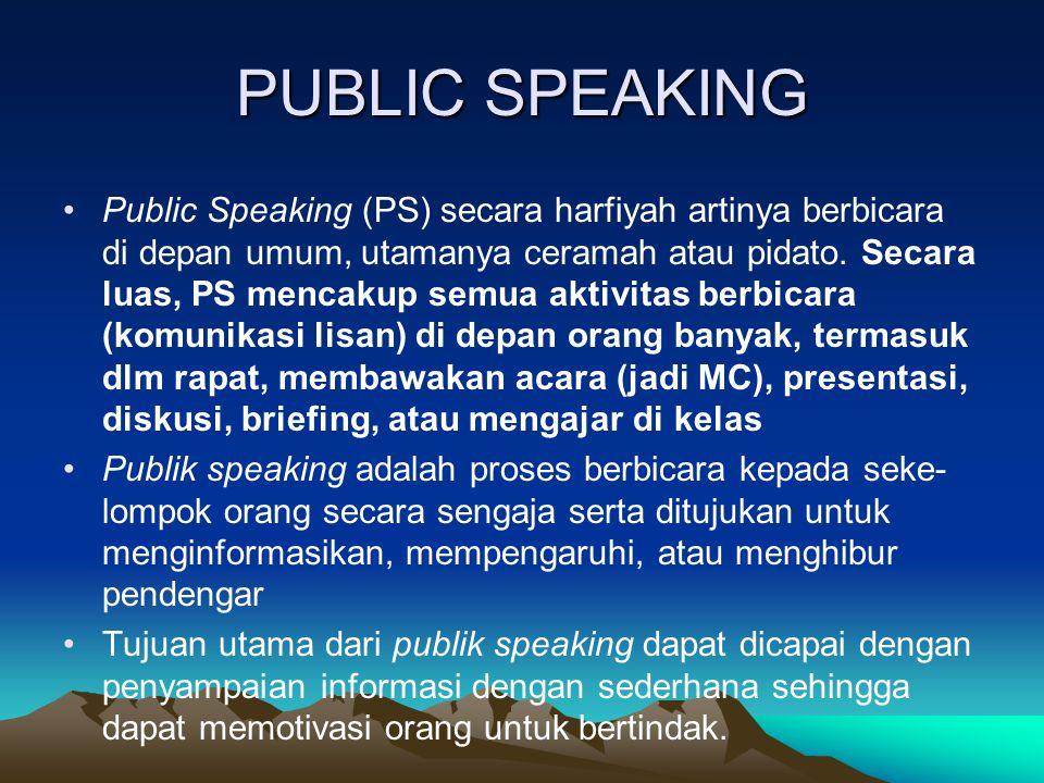 Public Speaking (PS) secara harfiyah artinya berbicara di depan umum, utamanya ceramah atau pidato. Secara luas, PS mencakup semua aktivitas berbicara