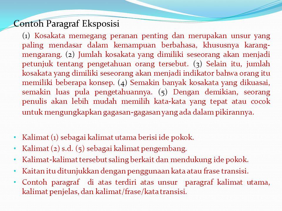 Contoh Paragraf Eksposisi (1) Kosakata memegang peranan penting dan merupakan unsur yang paling mendasar dalam kemampuan berbahasa, khususnya karang- mengarang.