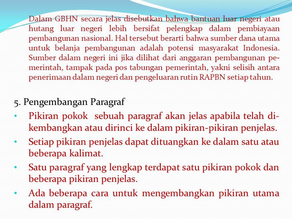 Dalam GBHN secara jelas disebutkan bahwa bantuan luar negeri atau hutang luar negeri lebih bersifat pelengkap dalam pembiayaan pembangunan nasional.