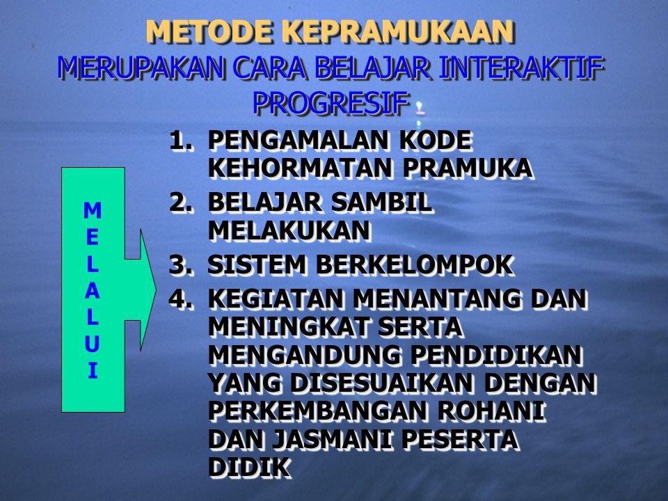 METODE KEPRAMUKAAN MERUPAKAN CARA BELAJAR INTERAKTIF PROGRESIF 1.PENGAMALAN KODE KEHORMATAN PRAMUKA 2.BELAJAR SAMBIL MELAKUKAN 3.SISTEM BERKELOMPOK 4.KEGIATAN MENANTANG DAN MENINGKAT SERTA MENGANDUNG PENDIDIKAN YANG DISESUAIKAN DENGAN PERKEMBANGAN ROHANI DAN JASMANI PESERTA DIDIK 1.PENGAMALAN 1.PENGAMALAN KODE KEHORMATAN PRAMUKA 2.BELAJAR 2.BELAJAR SAMBIL MELAKUKAN 3.SISTEM 3.SISTEM BERKELOMPOK 4.KEGIATAN 4.KEGIATAN MENANTANG DAN MENINGKAT SERTA MENGANDUNG PENDIDIKAN YANG DISESUAIKAN DENGAN PERKEMBANGAN ROHANI DAN JASMANI PESERTA DIDIK MELALUIMELALUI