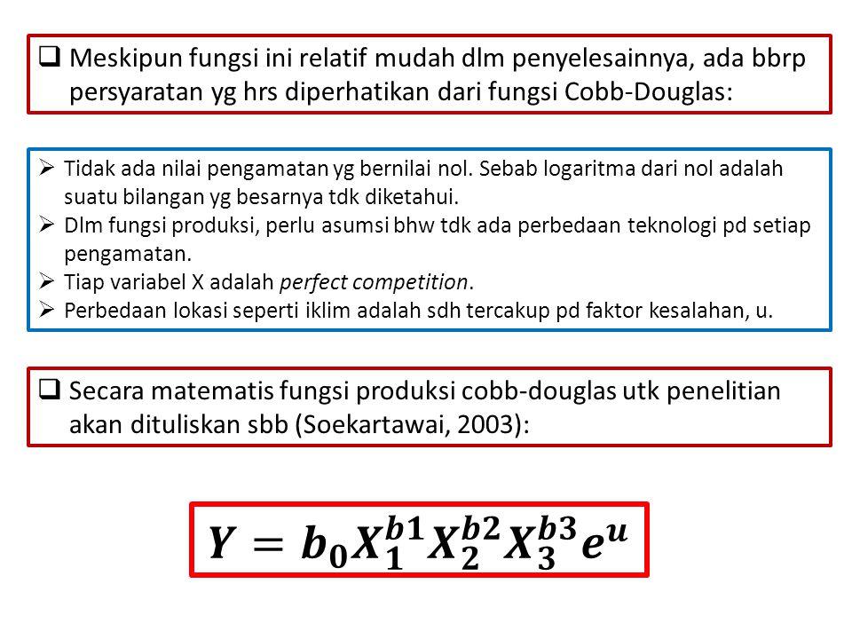  Meskipun fungsi ini relatif mudah dlm penyelesainnya, ada bbrp persyaratan yg hrs diperhatikan dari fungsi Cobb-Douglas:  Tidak ada nilai pengamatan yg bernilai nol.