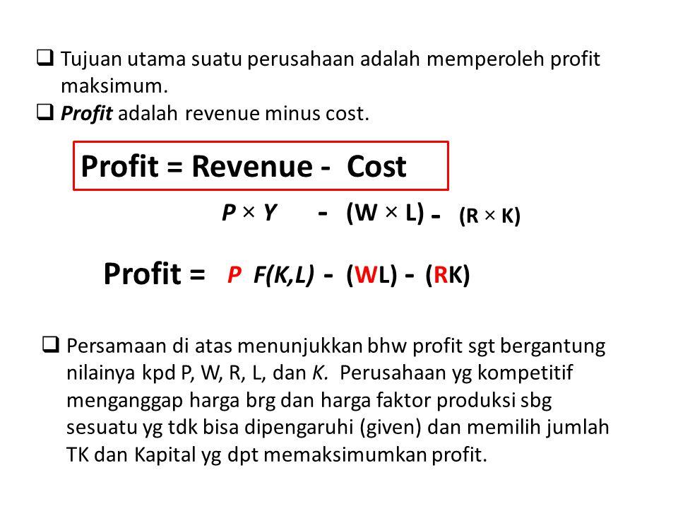  Tujuan utama suatu perusahaan adalah memperoleh profit maksimum.