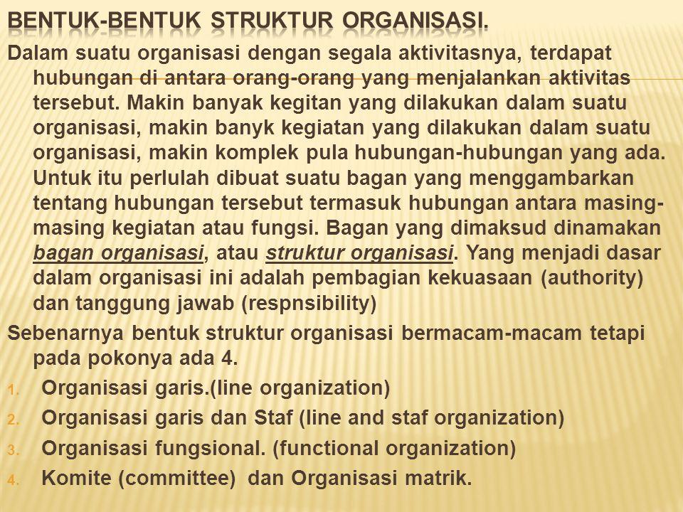 Pembentukan struktur organisasi dumulai dengan penganalisisan kegiatan-kegiatan organisasi. Di kebanyakan perusahaan di kegiatan ini berupa produksi,