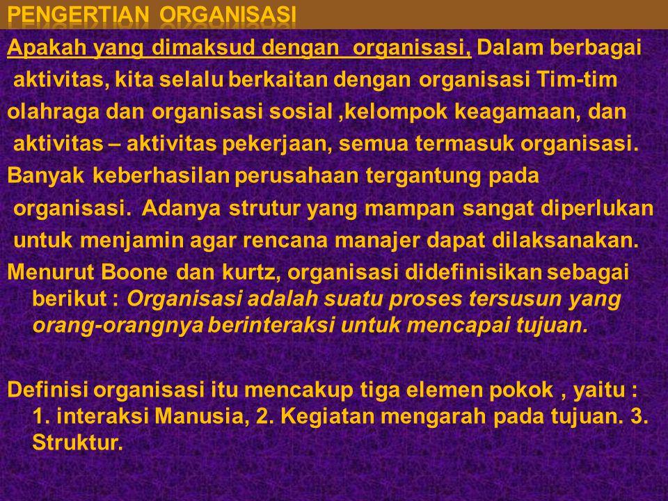 Apakah yang dimaksud dengan organisasi, Dalam berbagai aktivitas, kita selalu berkaitan dengan organisasi Tim-tim olahraga dan organisasi sosial,kelompok keagamaan, dan aktivitas – aktivitas pekerjaan, semua termasuk organisasi.