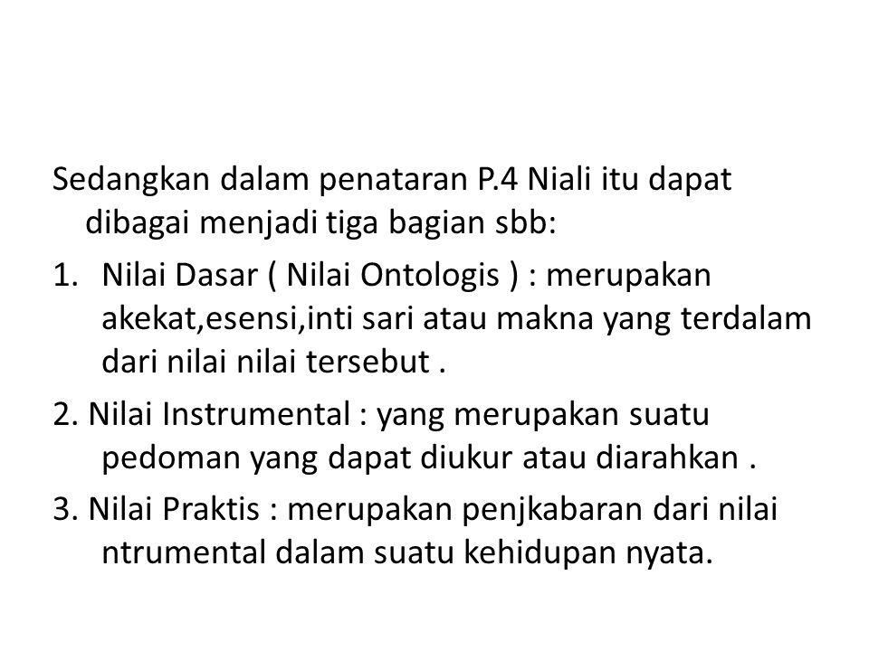 Sedangkan dalam penataran P.4 Niali itu dapat dibagai menjadi tiga bagian sbb: 1.Nilai Dasar ( Nilai Ontologis ) : merupakan akekat,esensi,inti sari a