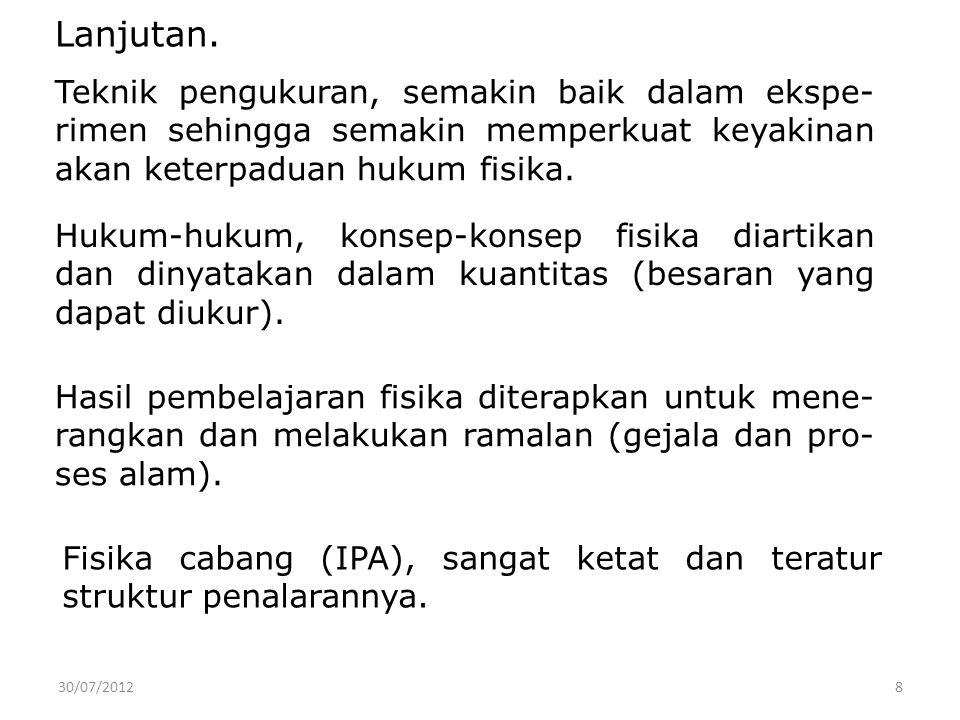 30/07/2012 9 Fisika sebagai IPA, menghasilkan hukum-hukum tentang peristiwa alam.