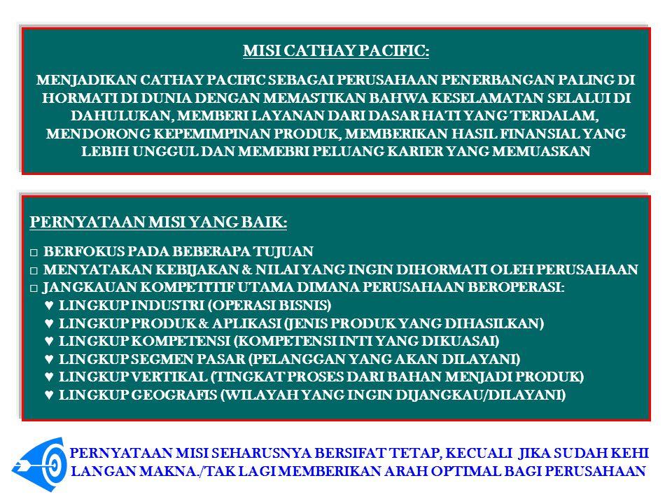 MISI CATHAY PACIFIC: MENJADIKAN CATHAY PACIFIC SEBAGAI PERUSAHAAN PENERBANGAN PALING DI HORMATI DI DUNIA DENGAN MEMASTIKAN BAHWA KESELAMATAN SELALUI D