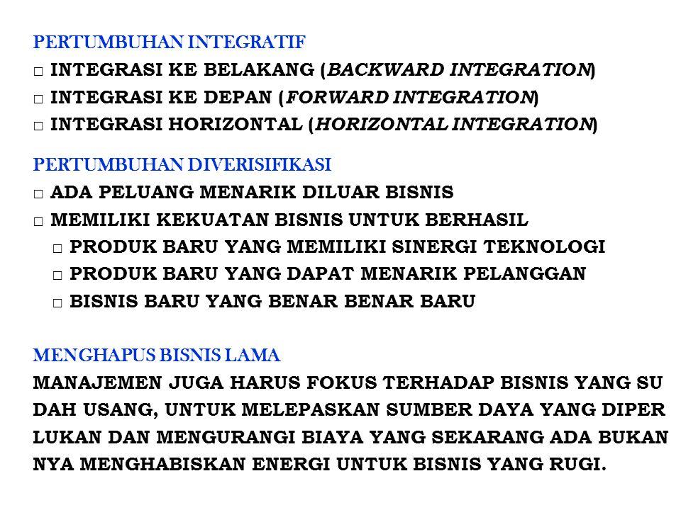 PERTUMBUHAN INTEGRATIF □ INTEGRASI KE BELAKANG ( BACKWARD INTEGRATION ) □ INTEGRASI KE DEPAN ( FORWARD INTEGRATION ) □ INTEGRASI HORIZONTAL ( HORIZONT