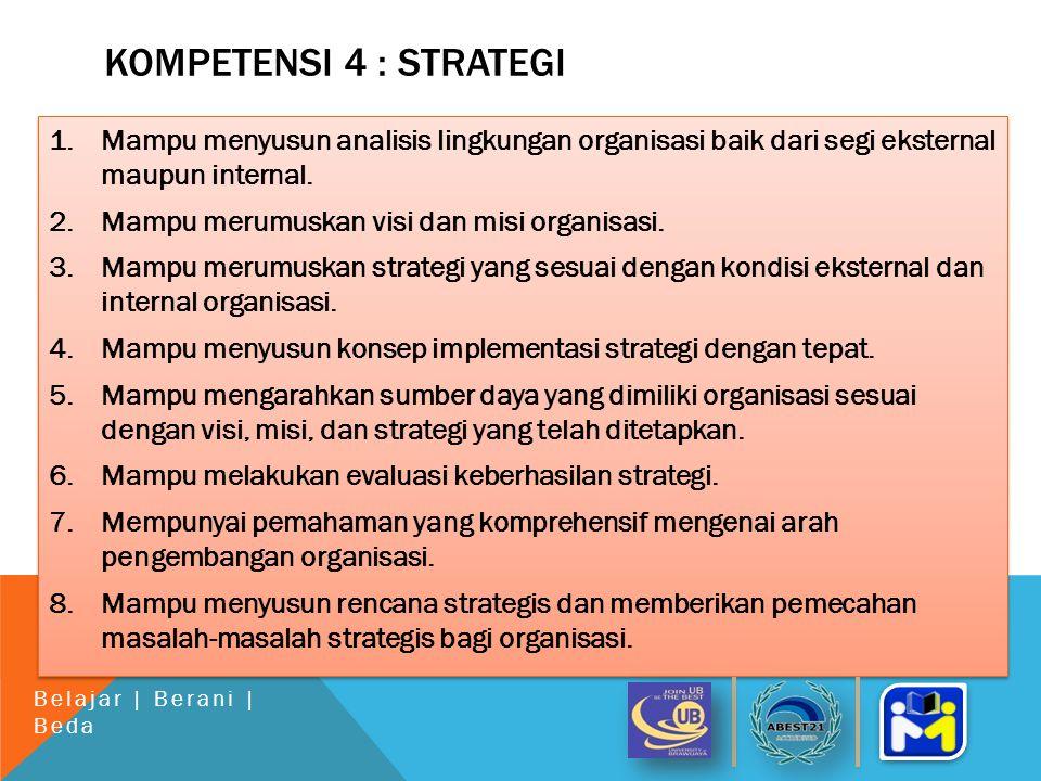 KOMPETENSI 4 : STRATEGI 1.Mampu menyusun analisis lingkungan organisasi baik dari segi eksternal maupun internal.