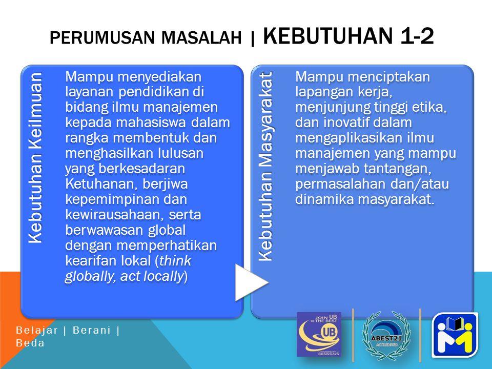 PERUMUSAN MASALAH | KEBUTUHAN 1-2 Kebutuhan Keilmuan Mampu menyediakan layanan pendidikan di bidang ilmu manajemen kepada mahasiswa dalam rangka membentuk dan menghasilkan lulusan yang berkesadaran Ketuhanan, berjiwa kepemimpinan dan kewirausahaan, serta berwawasan global dengan memperhatikan kearifan lokal (think globally, act locally) Kebutuhan Masyarakat Mampu menciptakan lapangan kerja, menjunjung tinggi etika, dan inovatif dalam mengaplikasikan ilmu manajemen yang mampu menjawab tantangan, permasalahan dan/atau dinamika masyarakat.