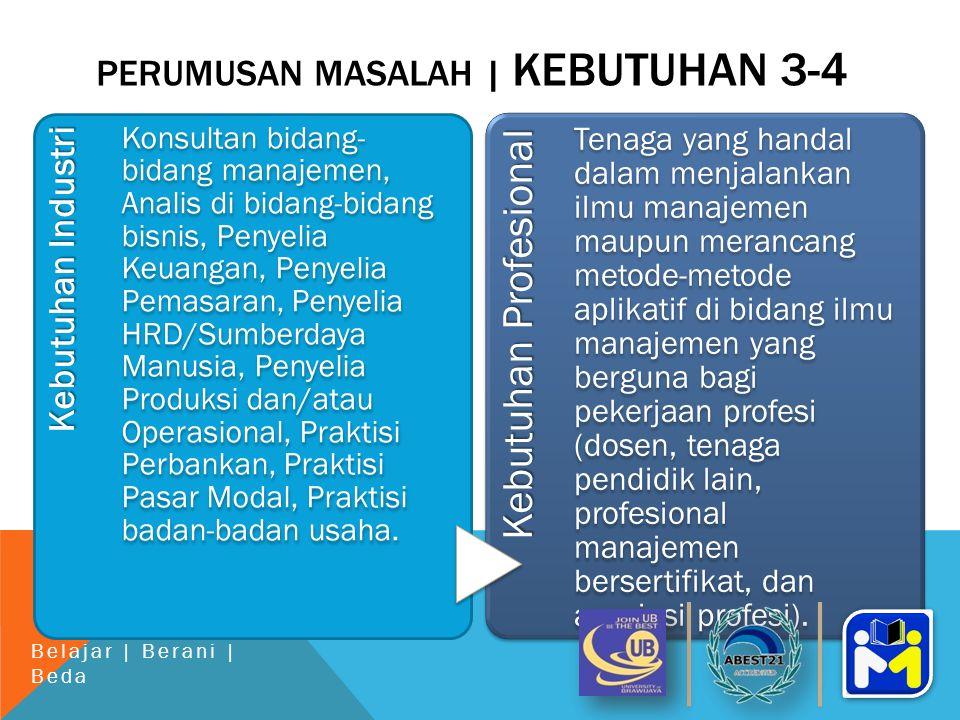 PERUMUSAN MASALAH | KEBUTUHAN 3-4 Kebutuhan Industri Konsultan bidang- bidang manajemen, Analis di bidang-bidang bisnis, Penyelia Keuangan, Penyelia Pemasaran, Penyelia HRD/Sumberdaya Manusia, Penyelia Produksi dan/atau Operasional, Praktisi Perbankan, Praktisi Pasar Modal, Praktisi badan-badan usaha.