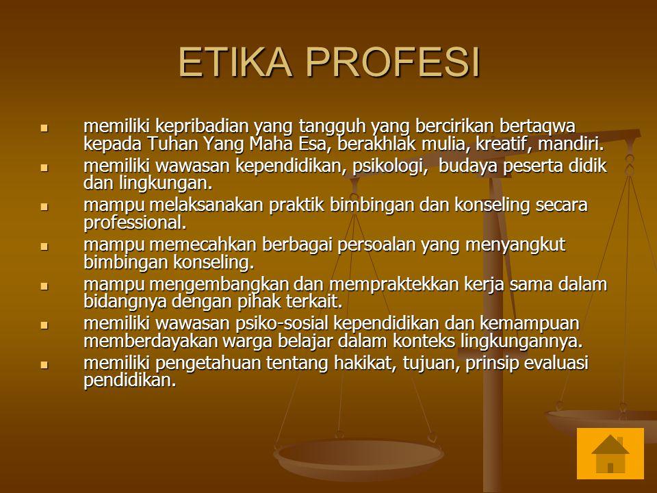 ETIKA PROFESI memiliki kepribadian yang tangguh yang bercirikan bertaqwa kepada Tuhan Yang Maha Esa, berakhlak mulia, kreatif, mandiri. memiliki kepri