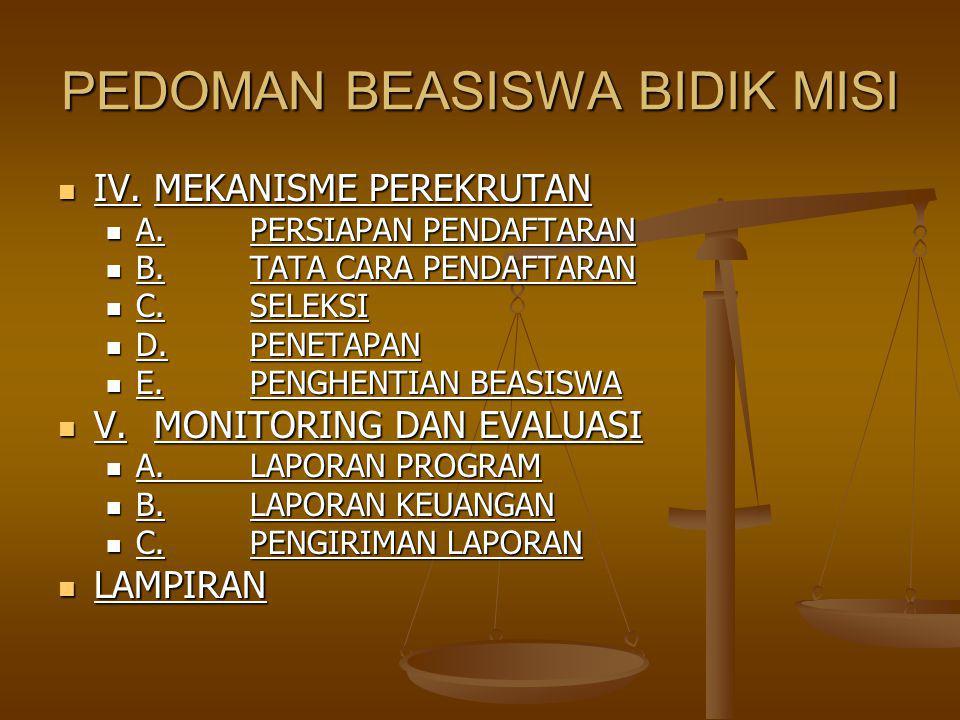 PEDOMAN BEASISWA BIDIK MISI IV.MEKANISME PEREKRUTAN IV.MEKANISME PEREKRUTAN A.PERSIAPAN PENDAFTARAN A.PERSIAPAN PENDAFTARAN B.TATA CARA PENDAFTARAN B.