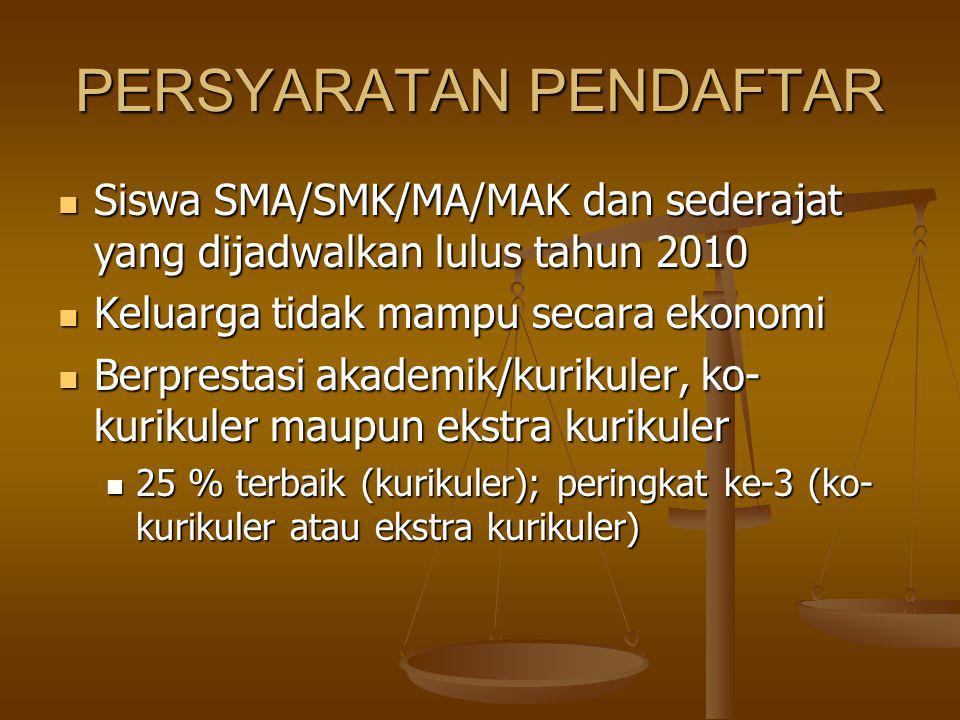 PERSYARATAN PENDAFTAR Siswa SMA/SMK/MA/MAK dan sederajat yang dijadwalkan lulus tahun 2010 Siswa SMA/SMK/MA/MAK dan sederajat yang dijadwalkan lulus t